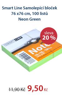 Smart Line Samolepící bloček 76x76 cm 100 listů Neon Green