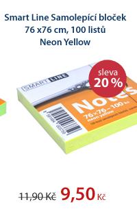 Smart Line Samolepící bloček 76x76 cm 100 listů - Neon Yellow