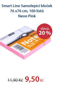 Smart Line Samolepící bloček 76x76 cm 100 listů - Neon Pink