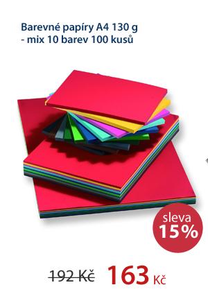 Barevné papíry A4 130 g - mix 10 barev 100 kusů