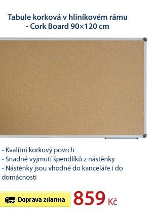 Tabule korková v hliníkovém rámu - Cork Board 90×120 cm