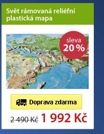 Svět rámovaná reliéfní plastická mapa 1:53 500 000