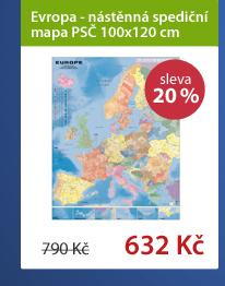 Evropa - nástěnná spediční mapa PSČ 100x120 cm