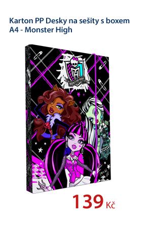 Karton PP Desky na sešity s boxem A4 - Monster High