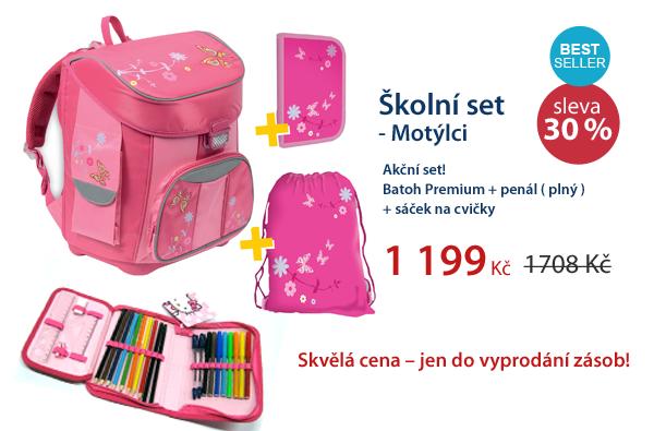 Školní set - Batoh + Penál + Sáček - Motýlci