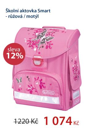 Školní aktovka Smart - růžová / motýl