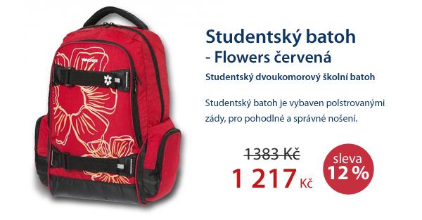 Studentský batoh - Flowers červená