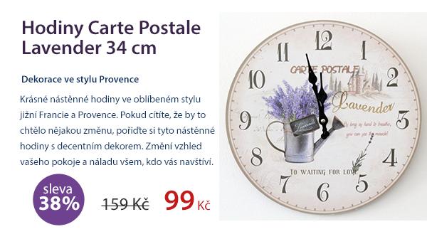 Hodiny Carte Postale Lavender 34cm