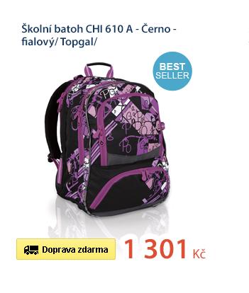 Školní batoh CHI 610 A - Černo - fialový/ Topgal/