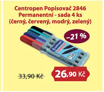 Centropen Popisovač 2846 Permanentní - sada 4 ks (černý, červený, modrý, zelený)