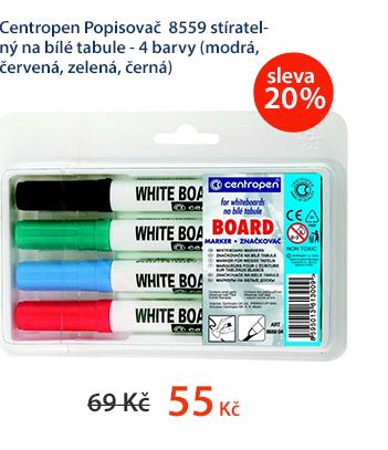 Centropen Popisovač 8559 stíratelný na bílé tabule - 4 barvy (modrá, červená, zelená, černá)