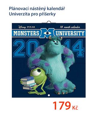 Plánovací nástěný kalendář 30x60cm - Univerzita pro příšerky