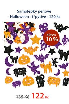 Samolepky pěnové - Halloween - třpytivé - 120 ks