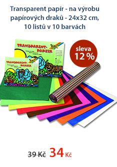 Transparent papír - na výrobu papírových draků - 24x32 cm, 10 listů v 10 barvách