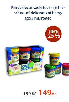 Barvy decor sada Jovi - rychleschnoucí dekorativní barvy 6x55 ml, štětec
