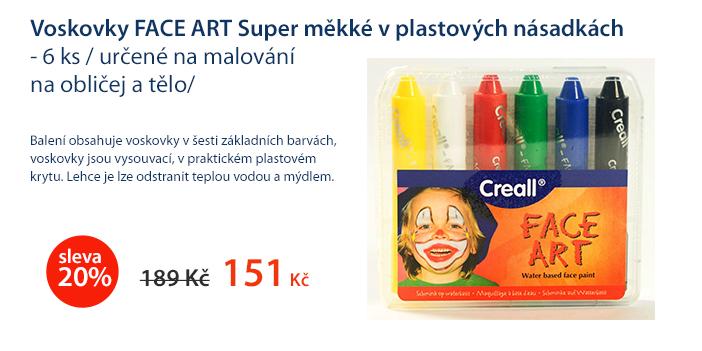 Voskovky kosmetické FACE ART Super měkké v plastových násadkách - 6 ks / určené na malování na obličej a tělo/