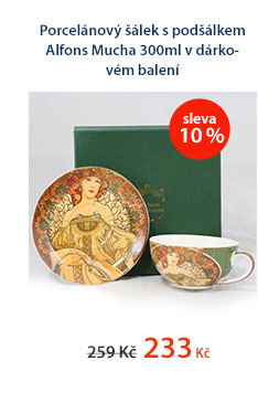 Porcelánový šálek s podšálkem Alfons Mucha 300ml v dárkovém balení