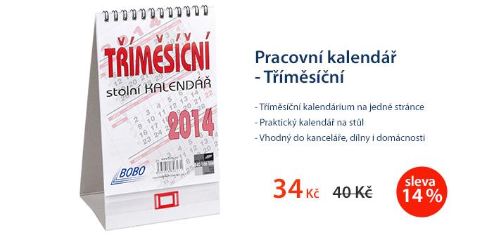 Pracovní kalendář 2014 - Tříměsíční