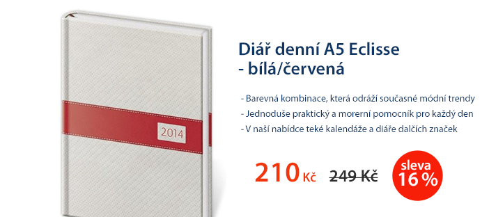 Diář denní A5 2014 Eclisse - bílá/červená