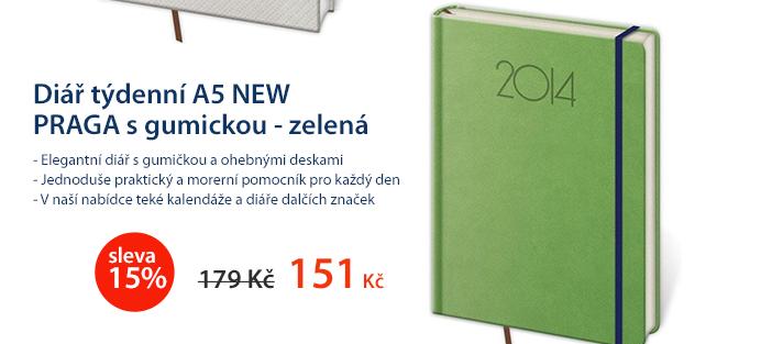 Diář týdenní A5 2014 NEW PRAGA s gumickou - zelená