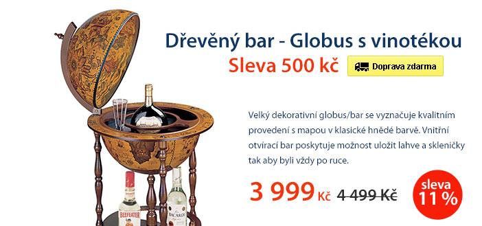 Dřevěný bar Globus s vinotékou 42cm