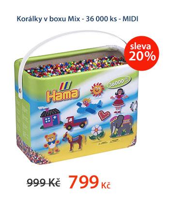 Korálky v boxu Mix - 36 000 ks - MIDI
