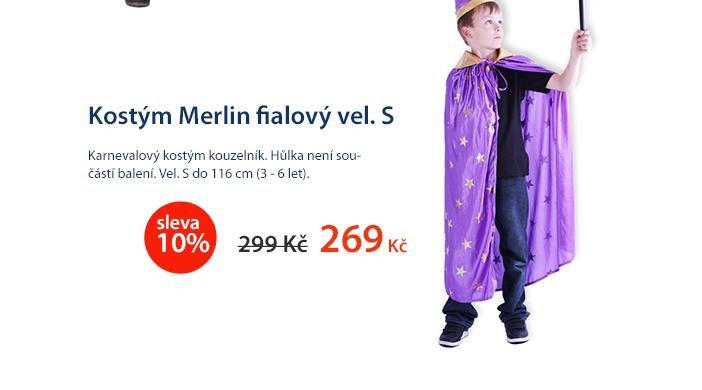 Kostým Merlin fialový vel. S