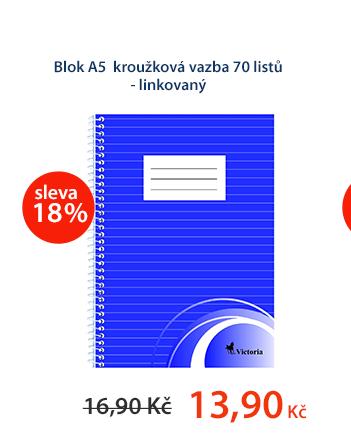 Blok A5 kroužková vazba 70 listů - linkovaný