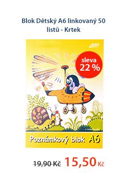 Dětský blok A6 linkovaný 50 listů - Krtek