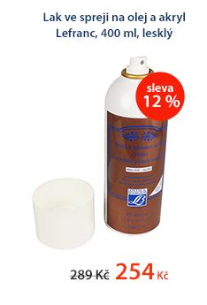 Lak ve spreji na olej a akryl Lefranc, 400 ml, lesklý