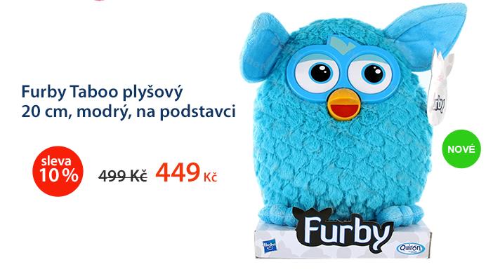 Furby Taboo plyšový 20 cm modrý, na podstavci