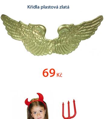 Křídla plastová zlatá
