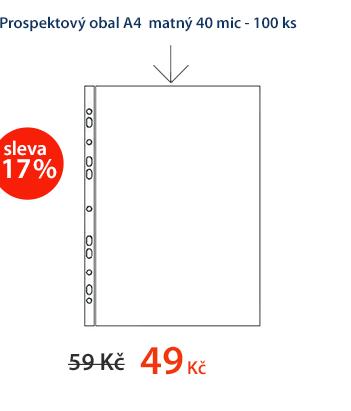 """Zakládací obal """"U"""" A4 matný s euroděrováním (40 mic) - 100 ks"""