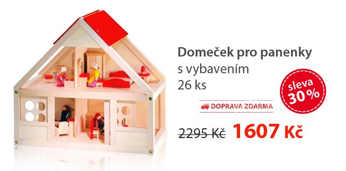 Domeček pro panenky, s vybavením 26 ks